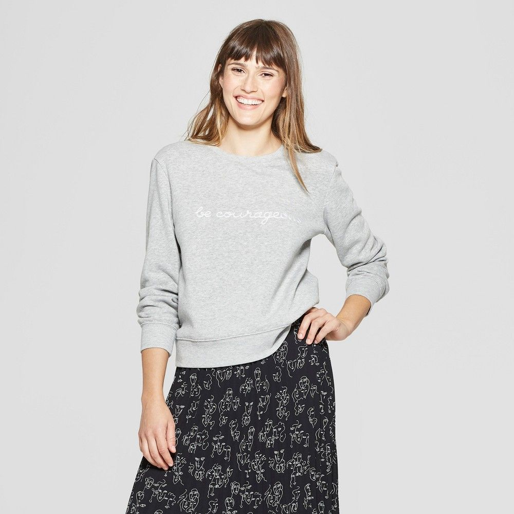 8cbe3d0bb7365a Women s Long Sleeve Graphic Sweatshirt - A New Day + Vital Voices - Heather  Grey XS