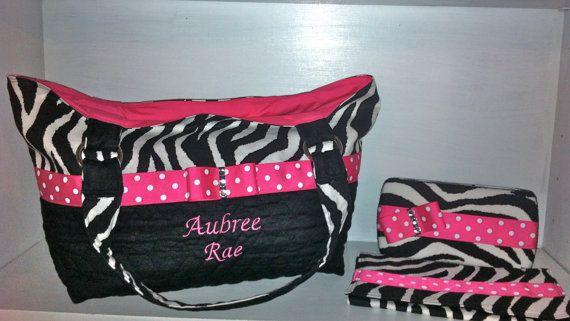 3 Piece Personalized Diaper Bag Set In Zebra Print With By Ceejaze 79 00