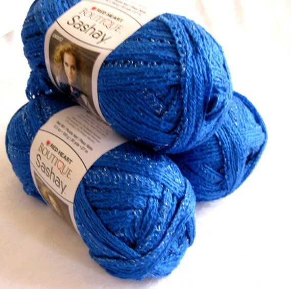 Red Heart Boutique Sashay yarn Royal BLUE, scarf yarn ruffling yarn