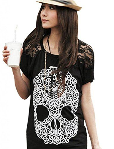 Damen Basic T-shirt Tops Bluse Skull Schädel Druck DR0579 | Produkte ...