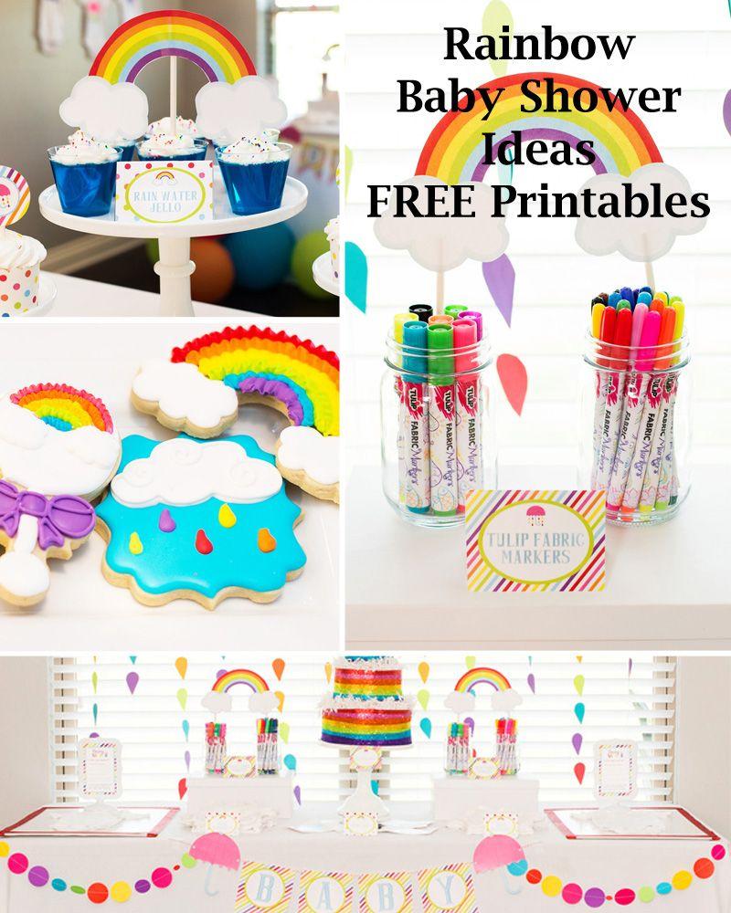 Rainbow Party Ideas Free Rainbow Printables Rainbow Baby Shower