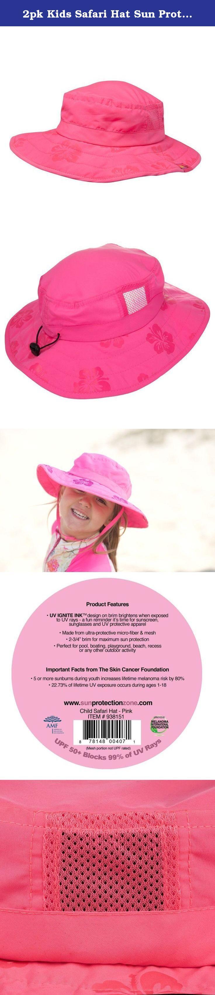 1be1ad7bbead7 2pk Kids Safari Hat Sun Protective Zone UPF 50+ Child Block UV Rays Shade  938151
