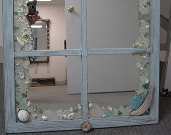 Shabby Chic Driftwood and Sea glass Window style mirror