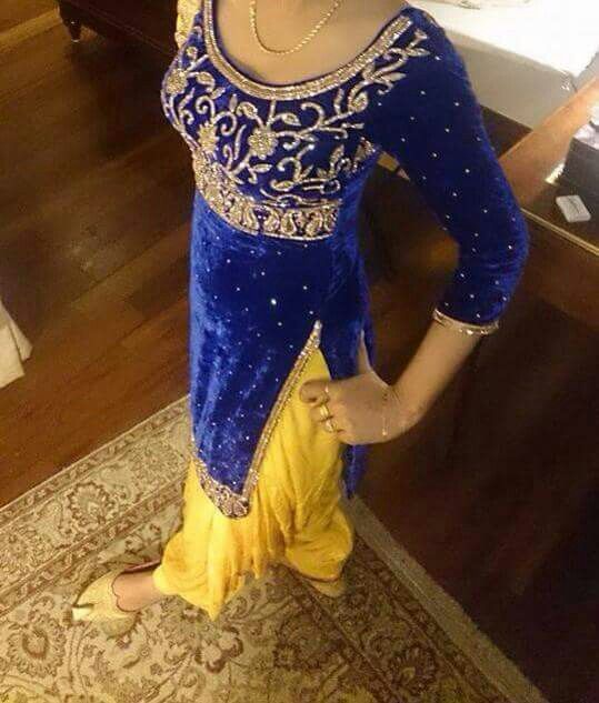Yellow salwar with royal blue shirt