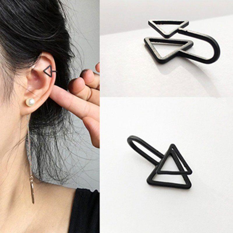 5ecead63bcf1c Black Triangle Clip Earrings Men in 2019 | Piercings | Cuff earrings ...