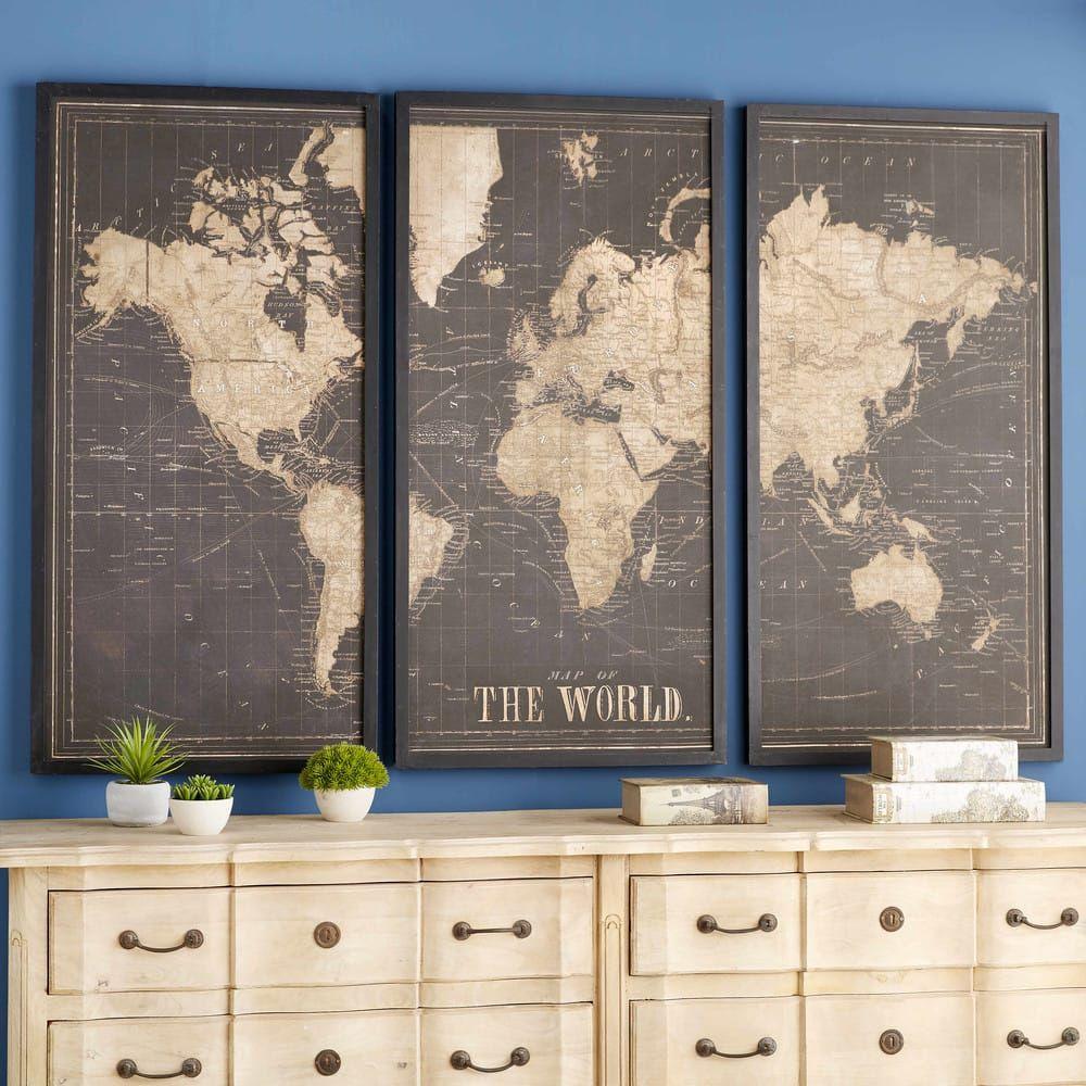 Black World Map Triptych Frame 180x120 Triptych Map Wall Art