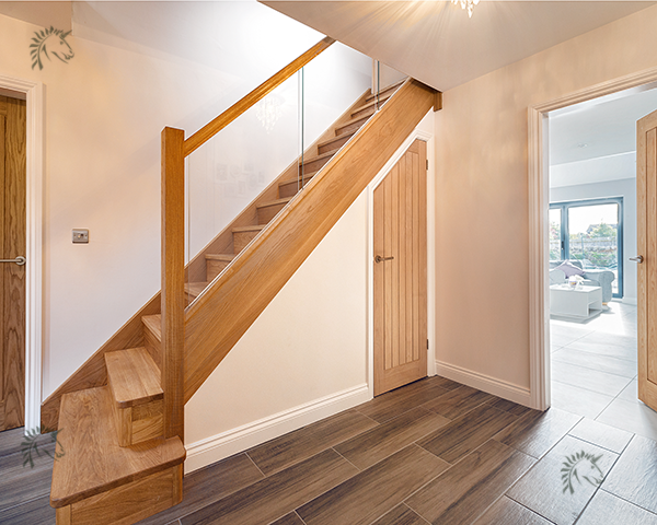 Best Solid Oak Staircase With Glass Blustrade Infill Panels 400 x 300