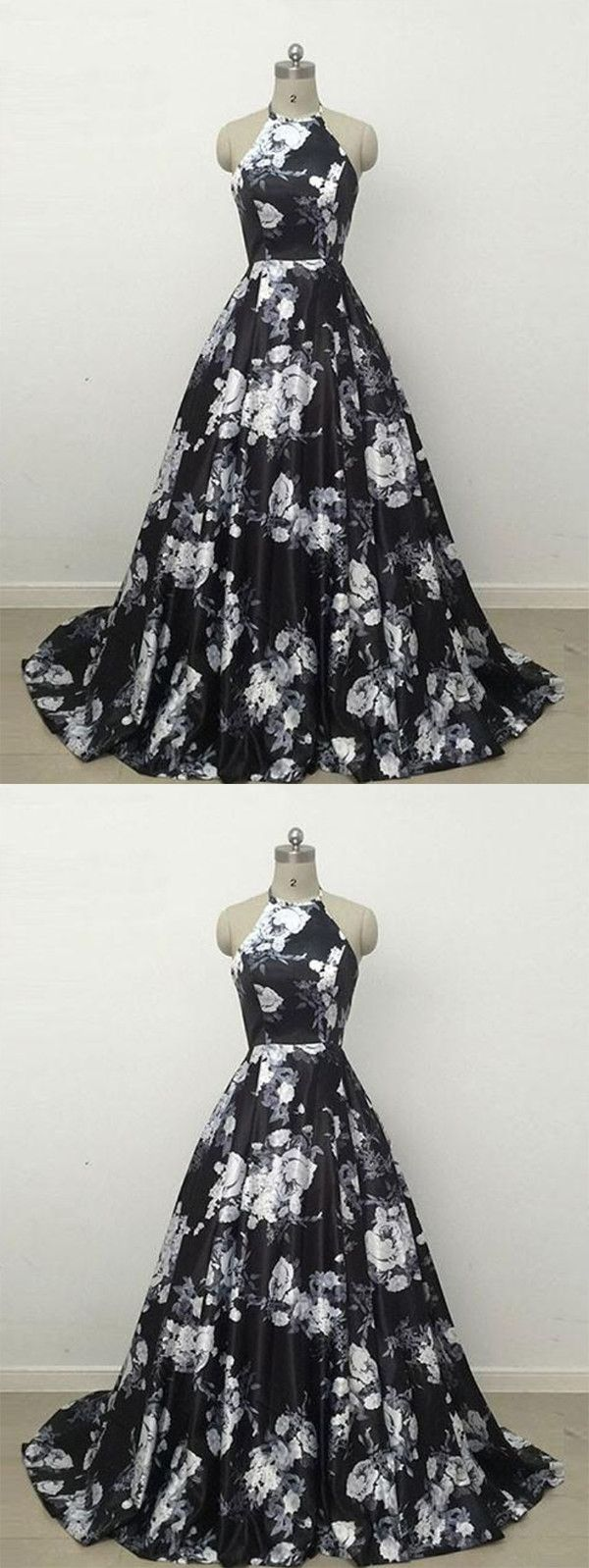 Black and white prom dress floral cheap african prom dress vb