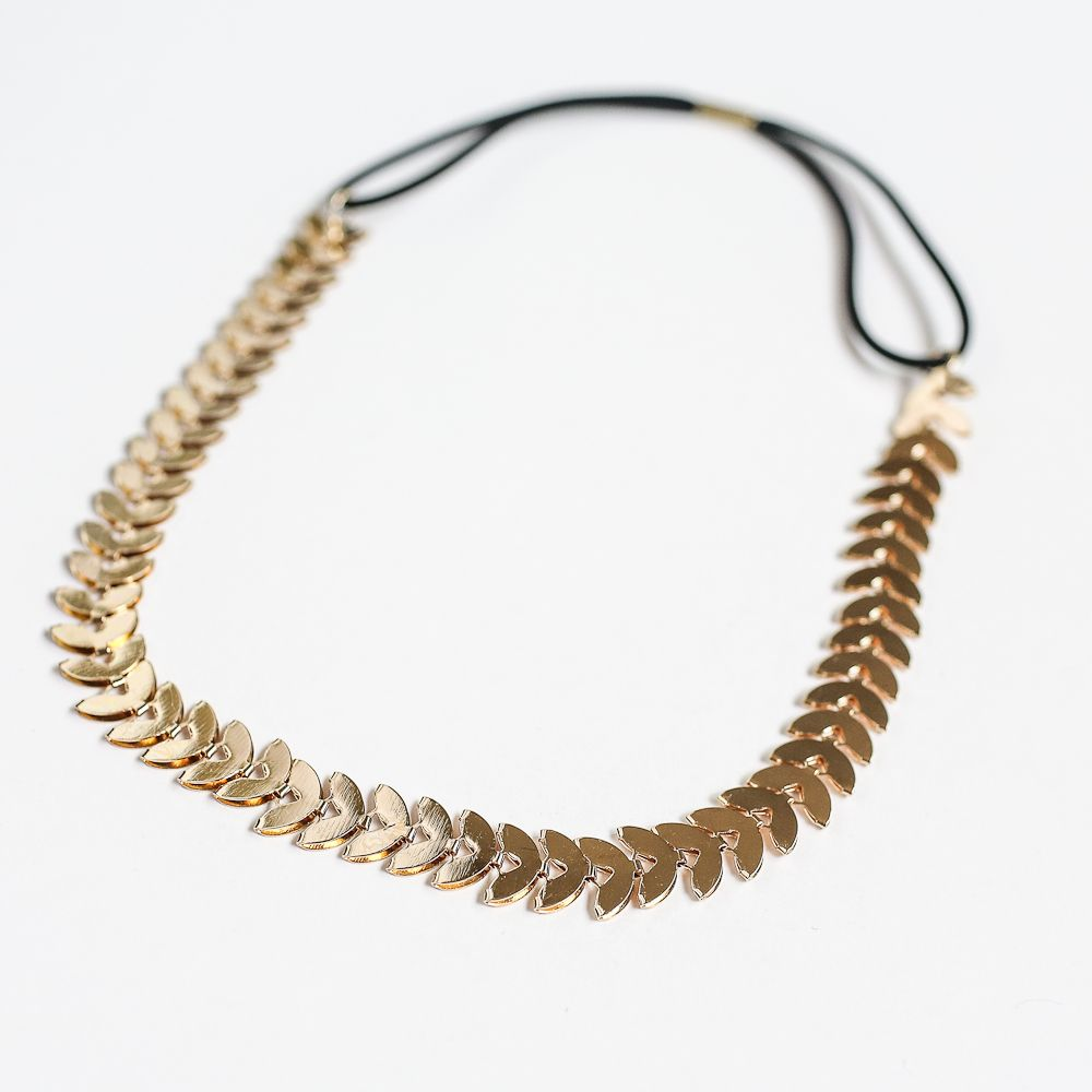 Comes with a black elastic back with a gold tone metal leaf chain. Import item.
