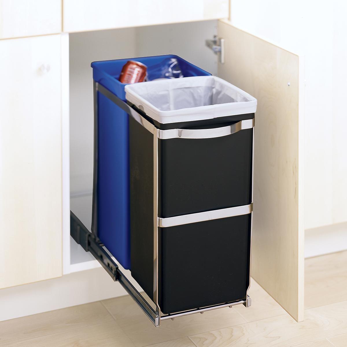 Simplehuman 9 2 Gal 2 Bin Pull Out Recycle Bin In 2020 Kitchen Trash Cans Pull Out Trash Cans Trash Can