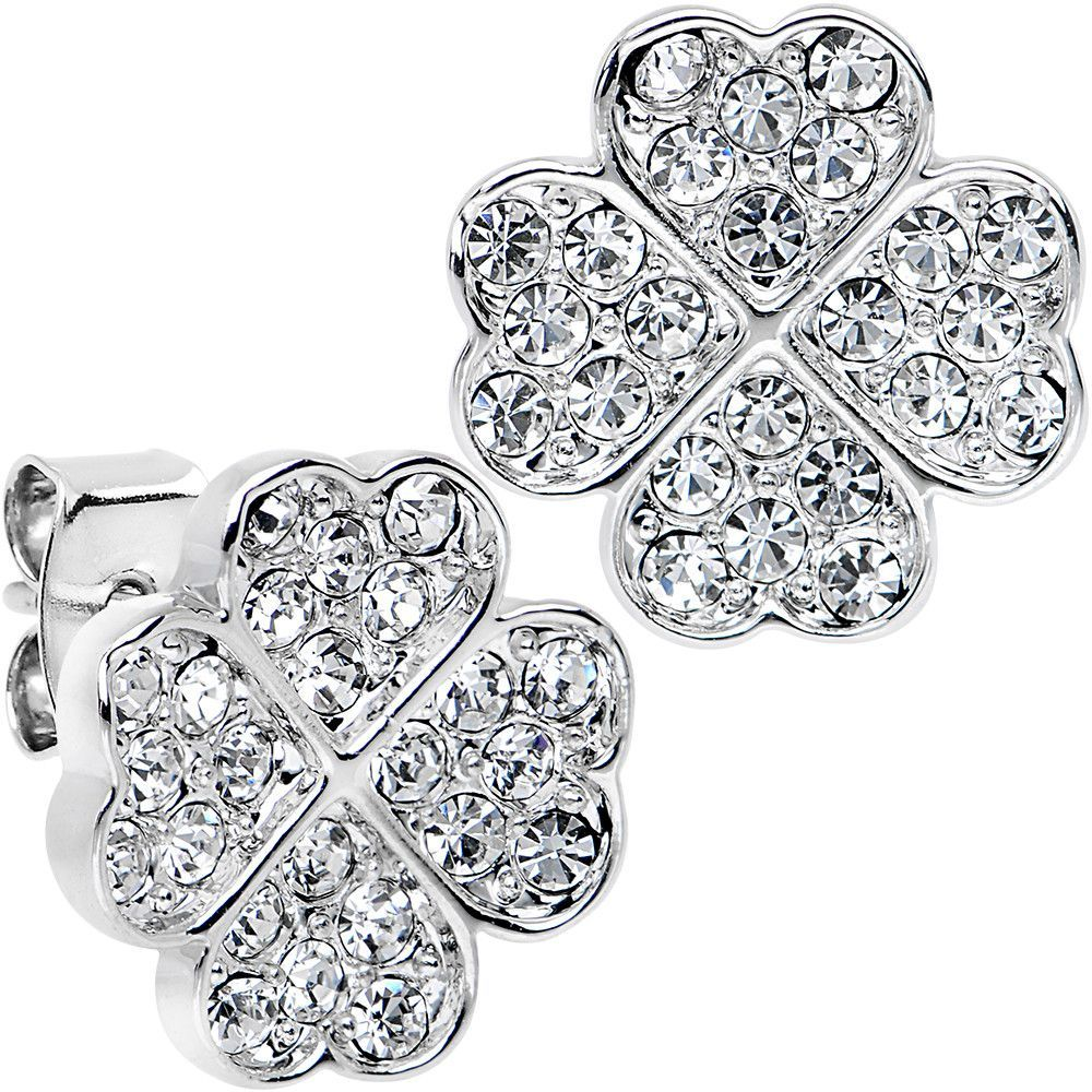 Stainless Steel Post Clear Four Leaf Clover Heart Stud Earrings
