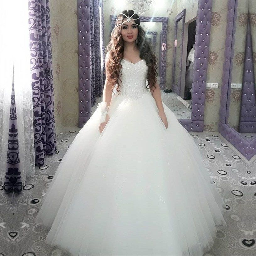 Bling Bling Sequins Beading Organza Ball Gowns Wedding Dresses ...