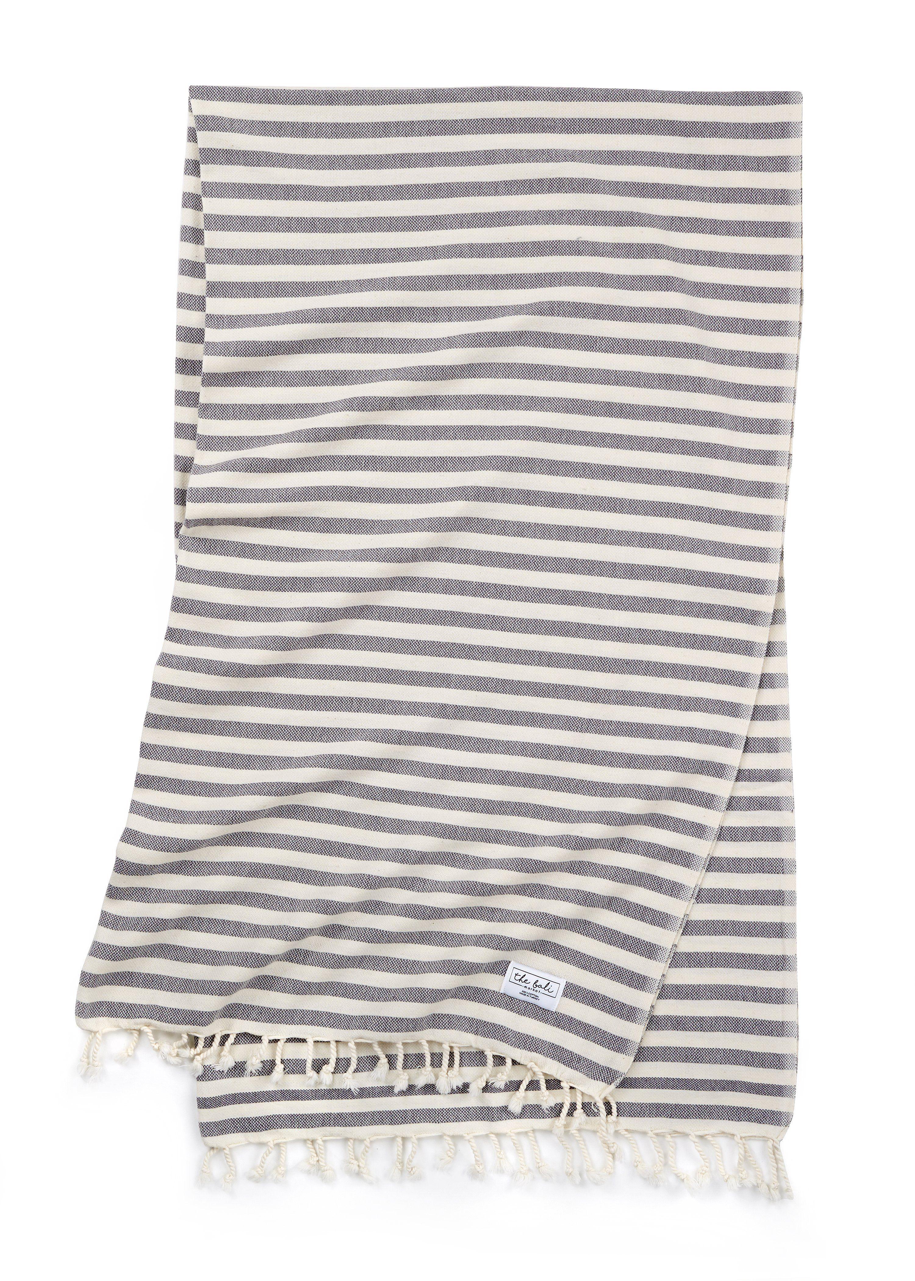 Saltwater Stripe Dark Grey Simple Beach Towel Oversized Beach