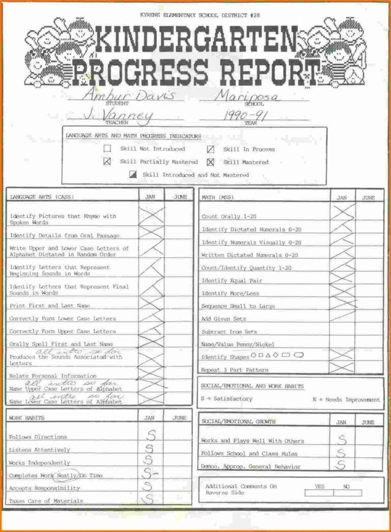 027 Kindergarten Report Card Template Ideas Screen Shot At Regarding Kindergarten Repor Kindergarten Report Cards Report Card Template Progress Report Template