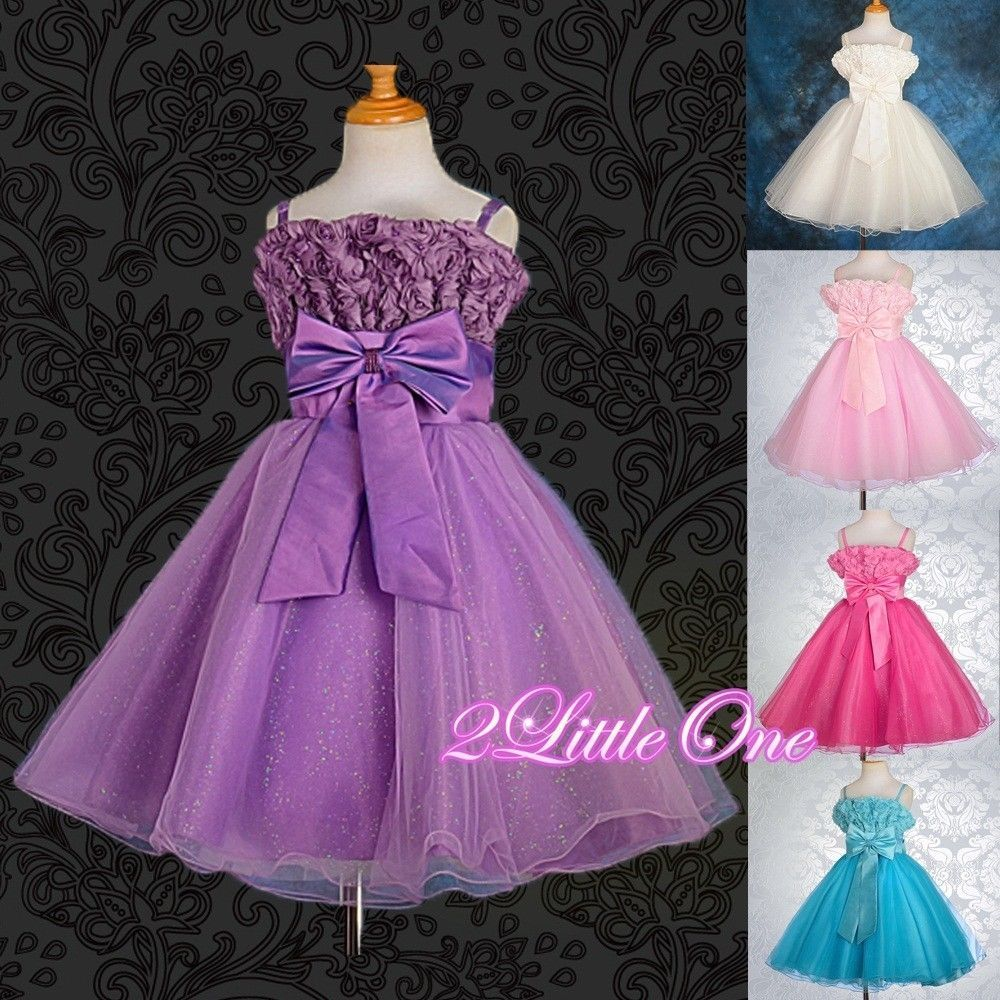 Embossed Flower Girl Pearls Pageant Dress Wedding Party Holiday Size ...