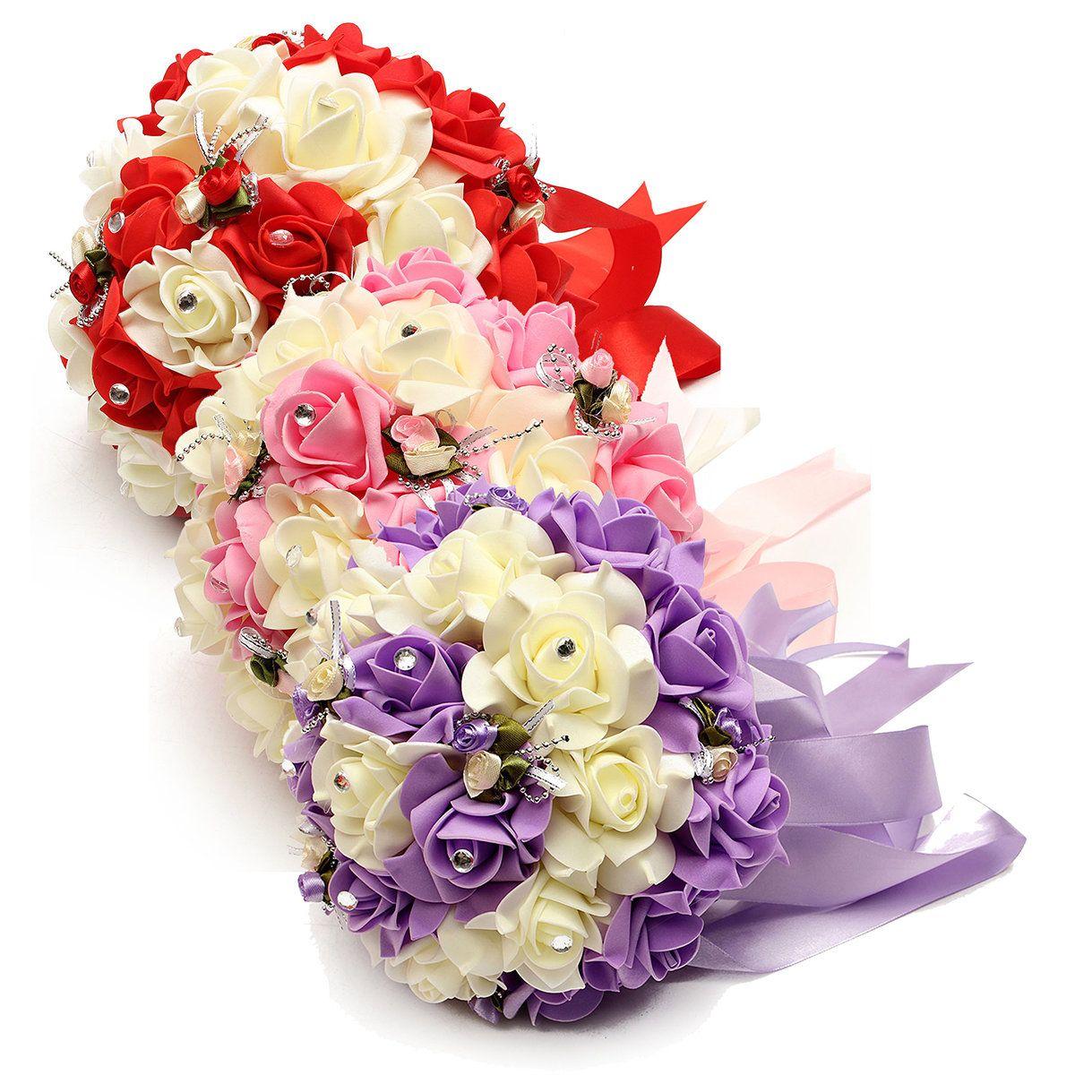 Bride Artificial Foam Roses Bouquet Crystal Ilke Ribbon Wedding