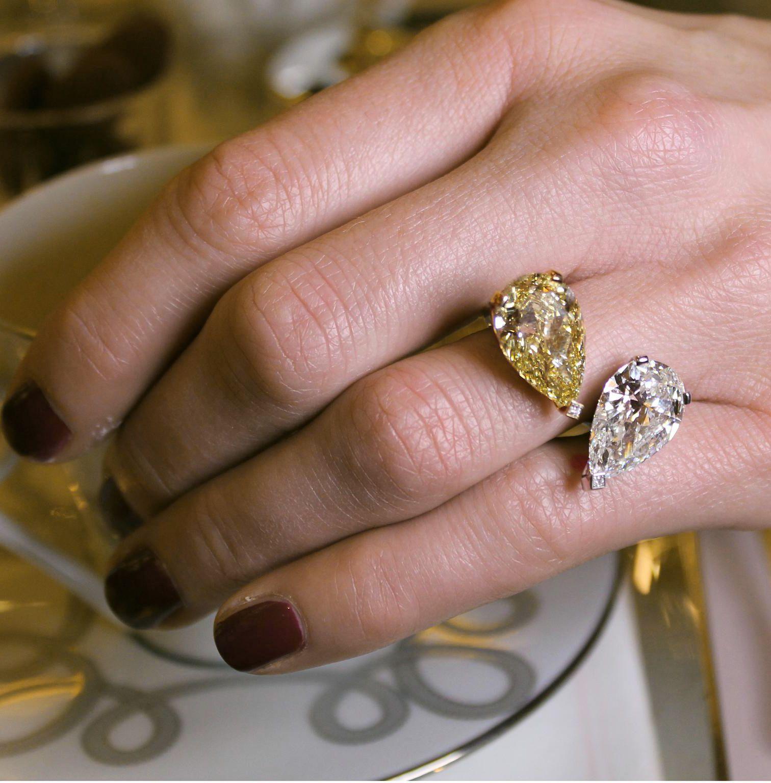 Messika Toi et Moi ring. Set with an 8-carat pear-cut yellow diamond ...