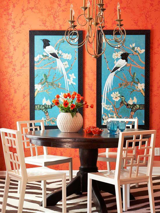 Decorating Idea Dining Rooms Diningroom Asian Decor Orange Wall Color Combination