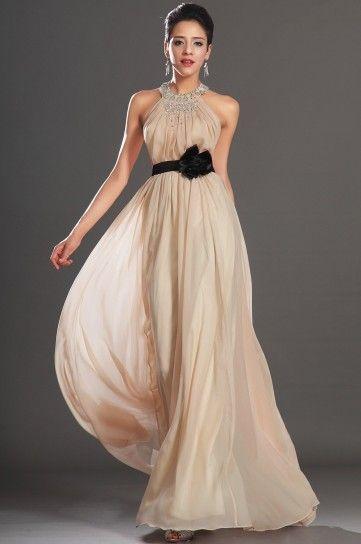 903ac8c872a8 Vestito beige per la testimone di nozze Satin Sash