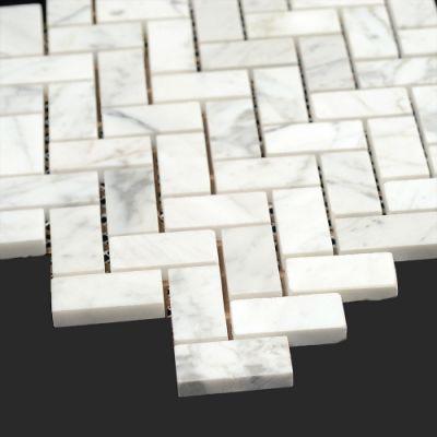 Bianco Carrara Marble 3 4x2 Polished Marble Herringbone Mosaic Tile Allmarbletiles Com Allmarbleti Herringbone Mosaic Tile Transitional Tile Marble Tile Floor
