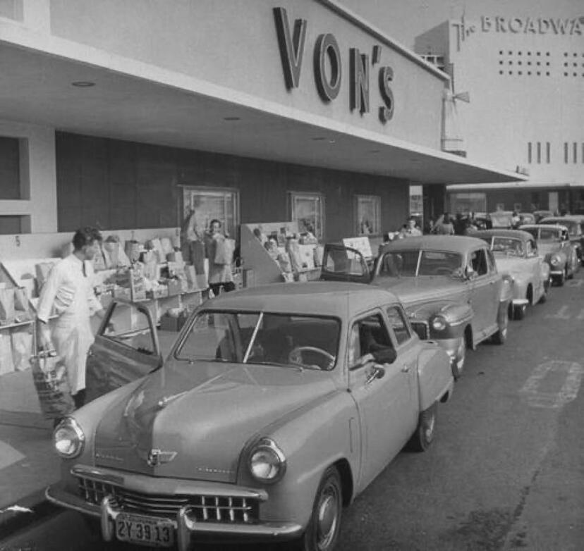 Vons 1949 Crenshaw mall Los angeles history, Vintage los