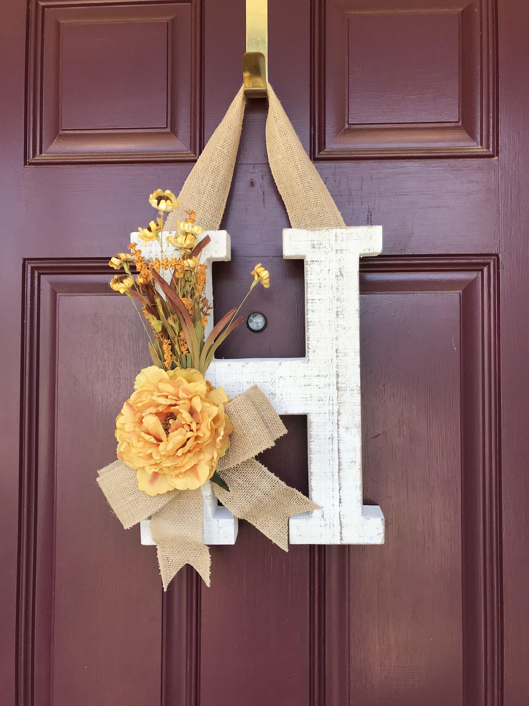 Front Door Letter Fall Front Door Wreath Fall Wreath Door Wreaths Diy Letter Door Wreaths Homemade Door Wreaths