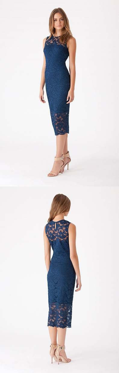 Lace Jewel Neck Dress  Stretch lace jewel neck dress.