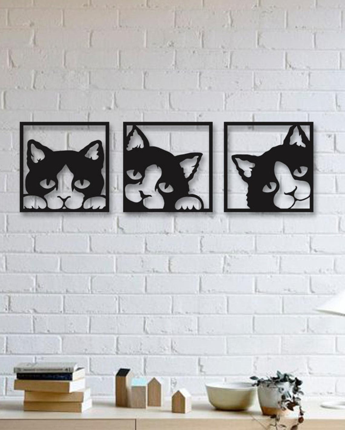 20 Lovely Cats Metal Wall Art Christmas gifts Modern Rustic   Etsy ...