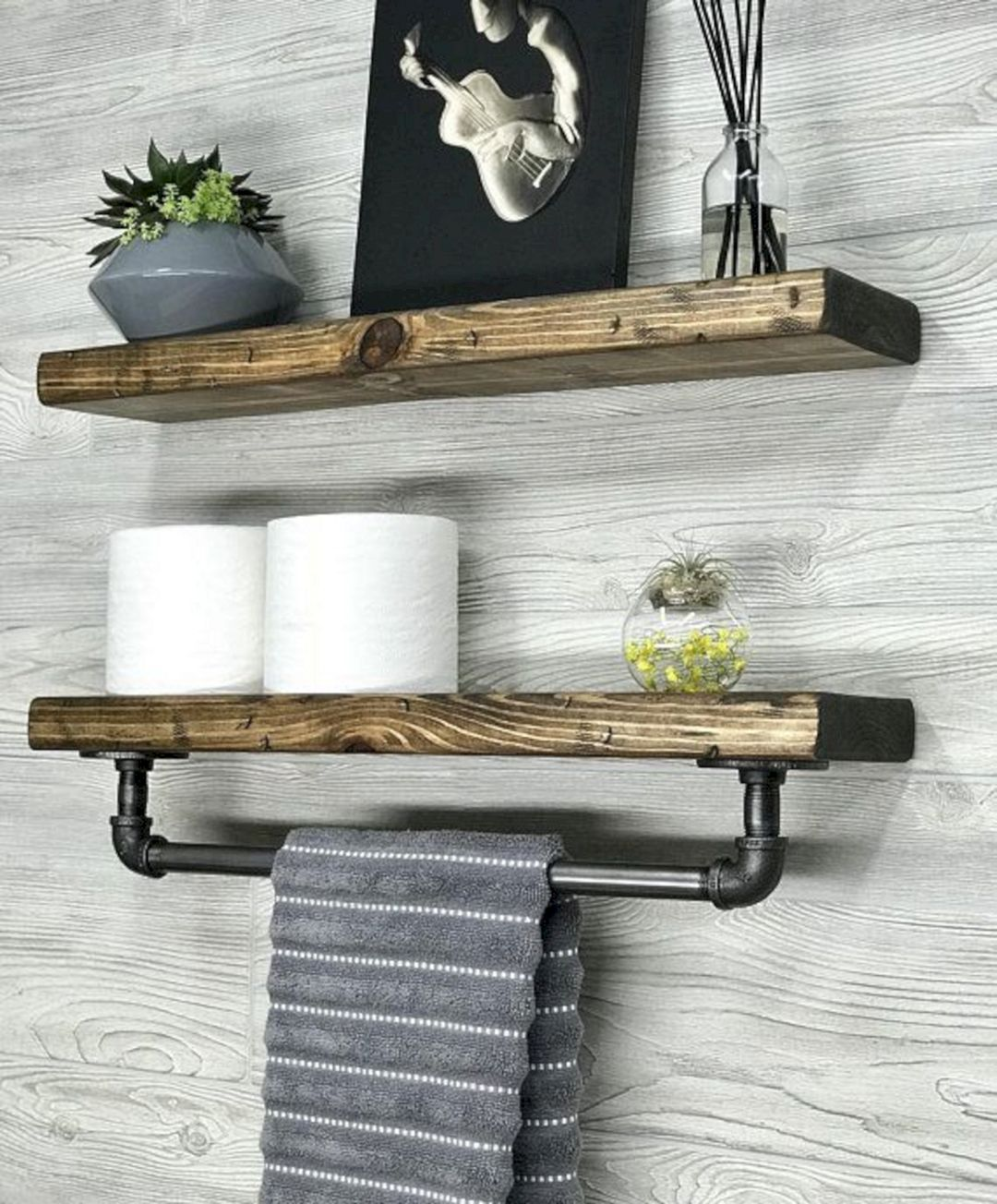 extraordinary girls bathroom organization idea   20 Extraordinary Rustic Bathroom Wall Shelves And ...