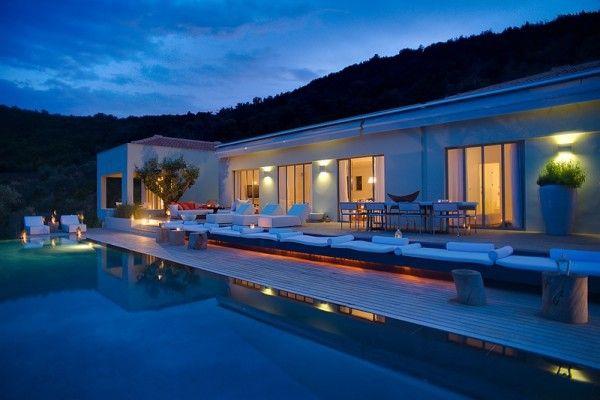 Villa Eudokia Greece holiday home stunning Mediterranean view pool night