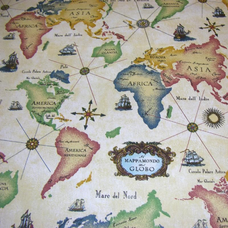 Curtain fabric with antique world map new girl scout house curtain fabric with antique world map gumiabroncs Image collections