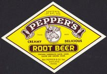 1950 - Pepper's Root Beer Bottle Label with Moose
