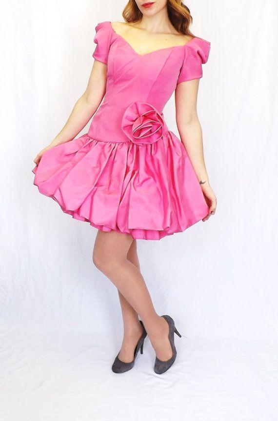 Vintage 80s 90s Short Pink Cache Prom Gown Lolita Ballerina Princess ...