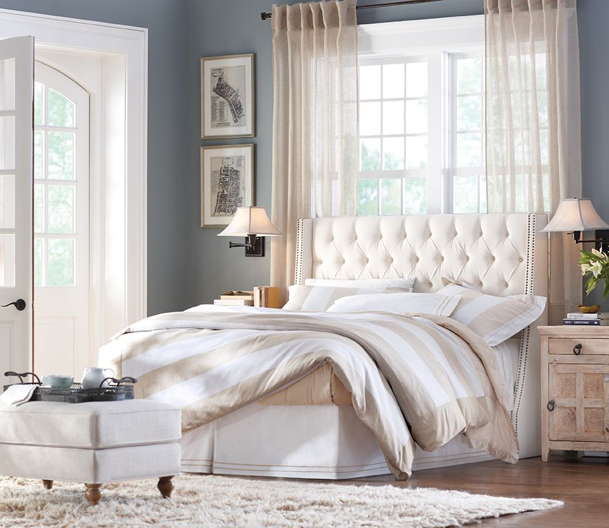 Homedecorators Com Coupon: A White Tufted Headboard With Nailheads Adds The Right