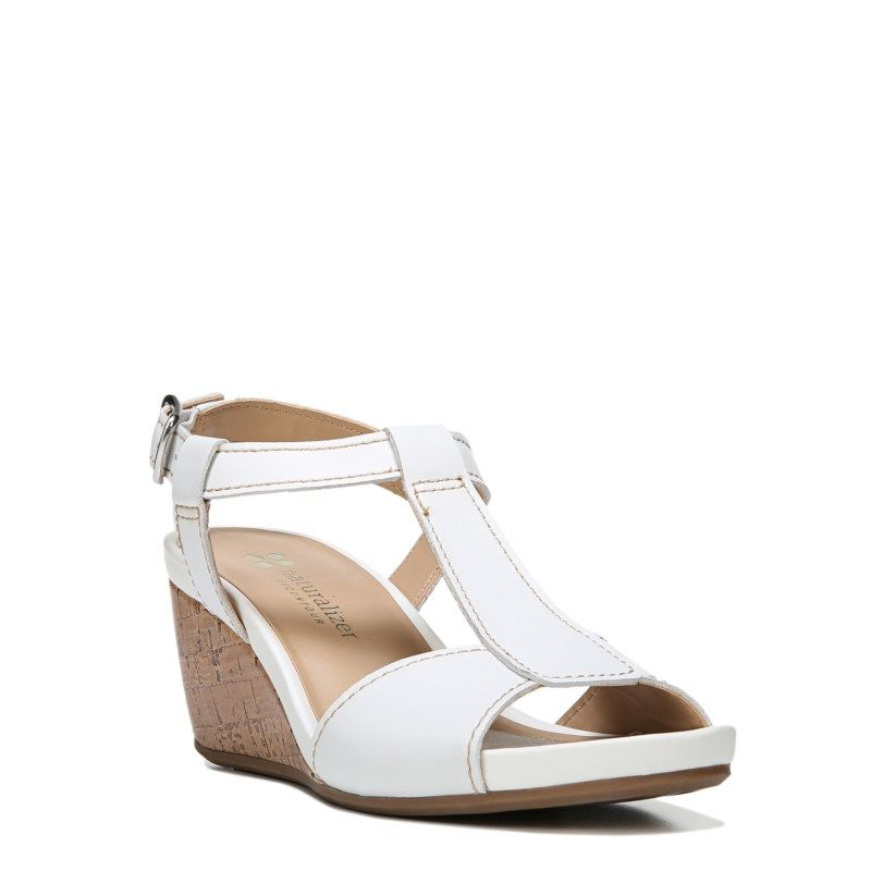 Naturalizer Women's Camilla Narrow/Medium/Wide Wedge Sandals (White Leather)