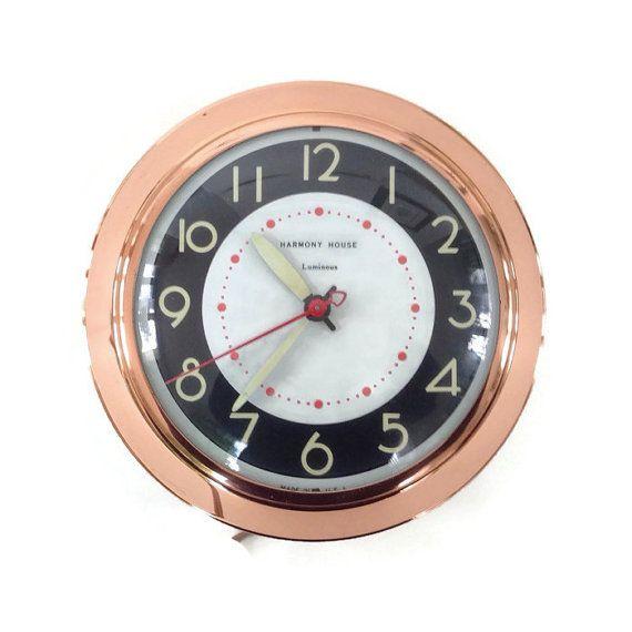 Mid Century Vintage Wall Clock. Round Clock With A Shiny
