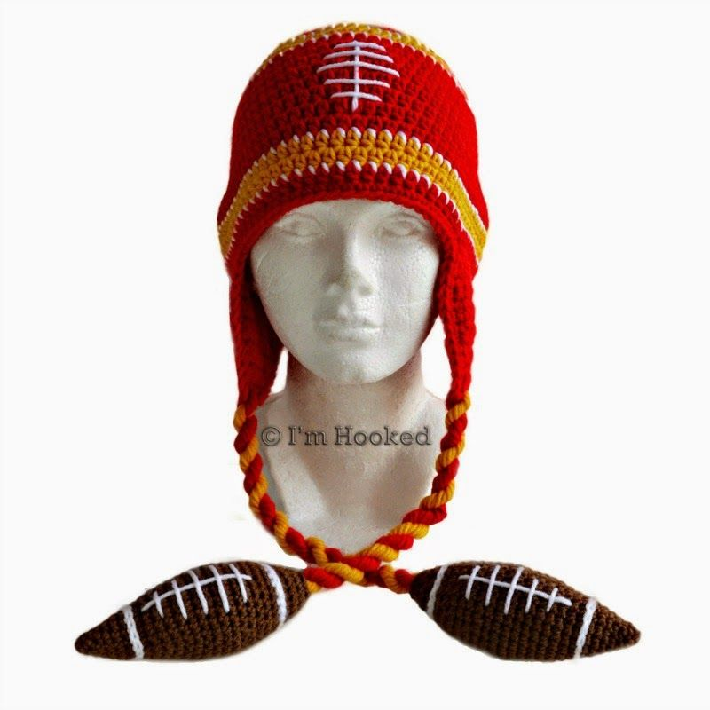 football beanie ~ free pattern FOOTBALL COLOR ON THE HAT AND ...