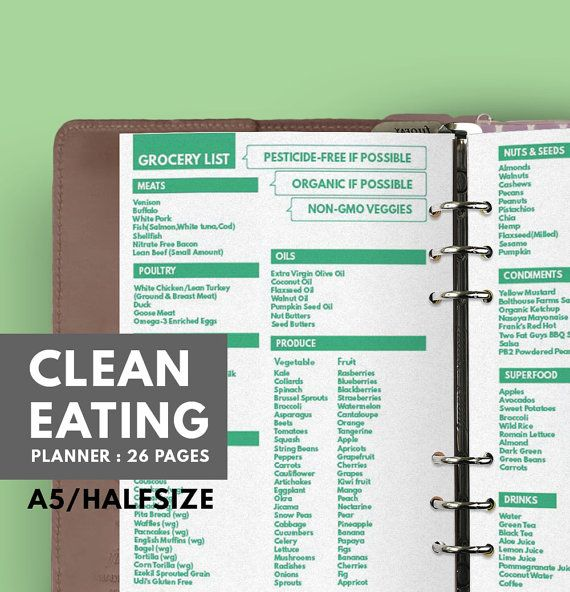 Clean Eating Planner Printable A5, Halfsize, Health Planner, Meal
