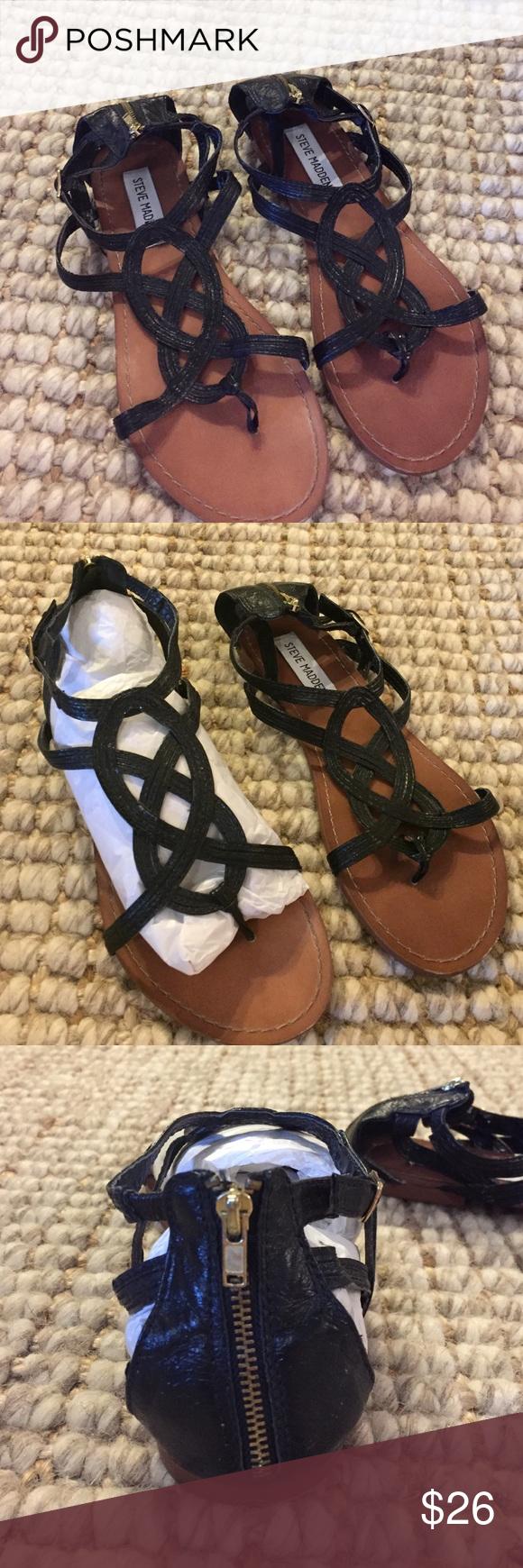 Steven Madden Sandals Steven Madden Black LEATHER Sandals, Size: 8 1/2M, Excellent Condition Steve Madden Shoes Sandals