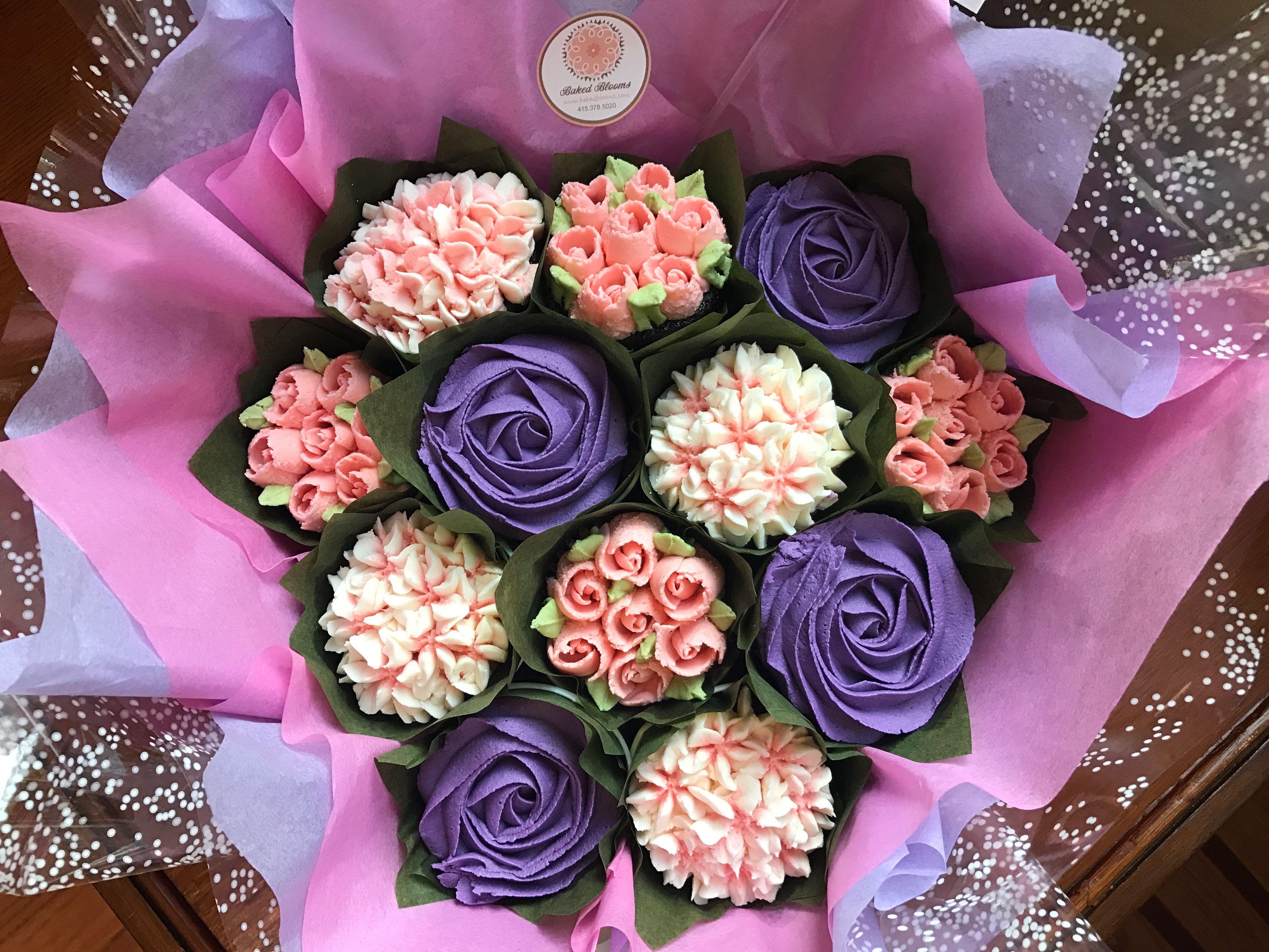 pink and purple cupcake bouquet wwwbakedbloomscom