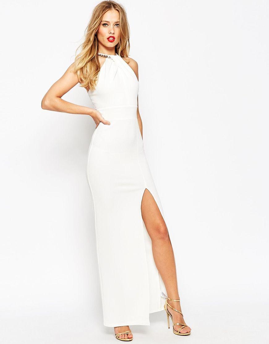 ASOS Chain neck Textured Halter Maxi Dress | Wedding dresses ...