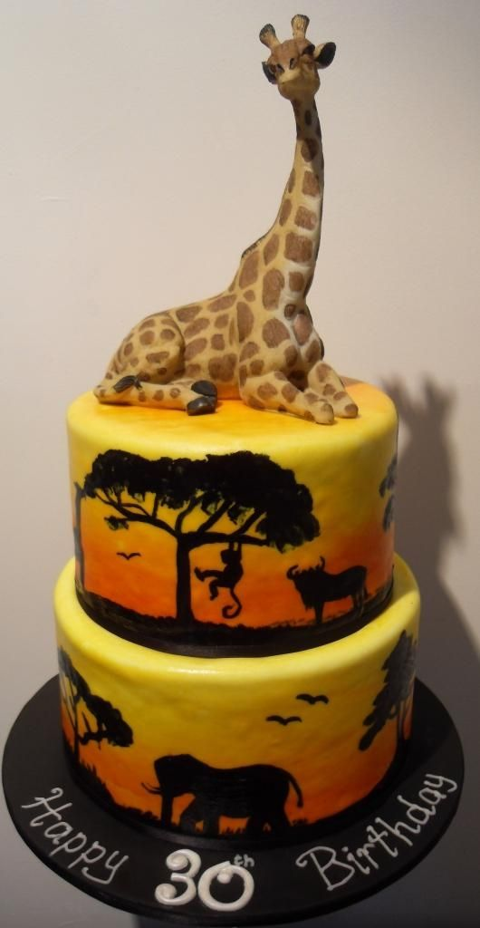 Hand painted Safari Cake I cant hand paint but I like the concept