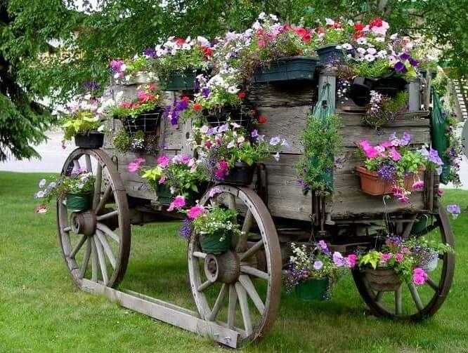 Flower Covered Wagon Garden