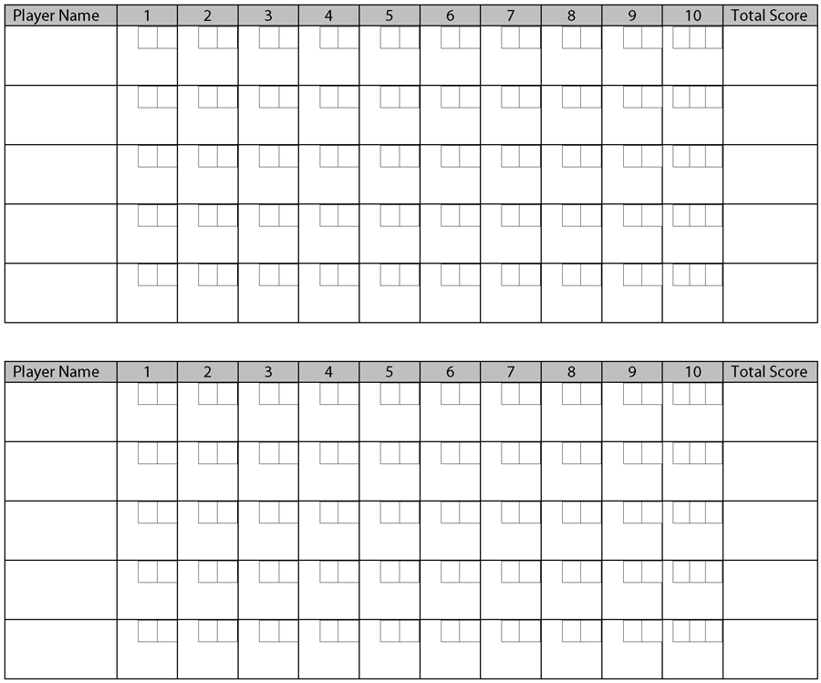 Printable Bowling Score Sheets Pictures – Bowling Score Sheet Template