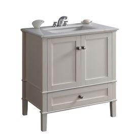 Simpli Home Chelsea 31 In X 21.5 In White Undermount Single Sink Bathroom
