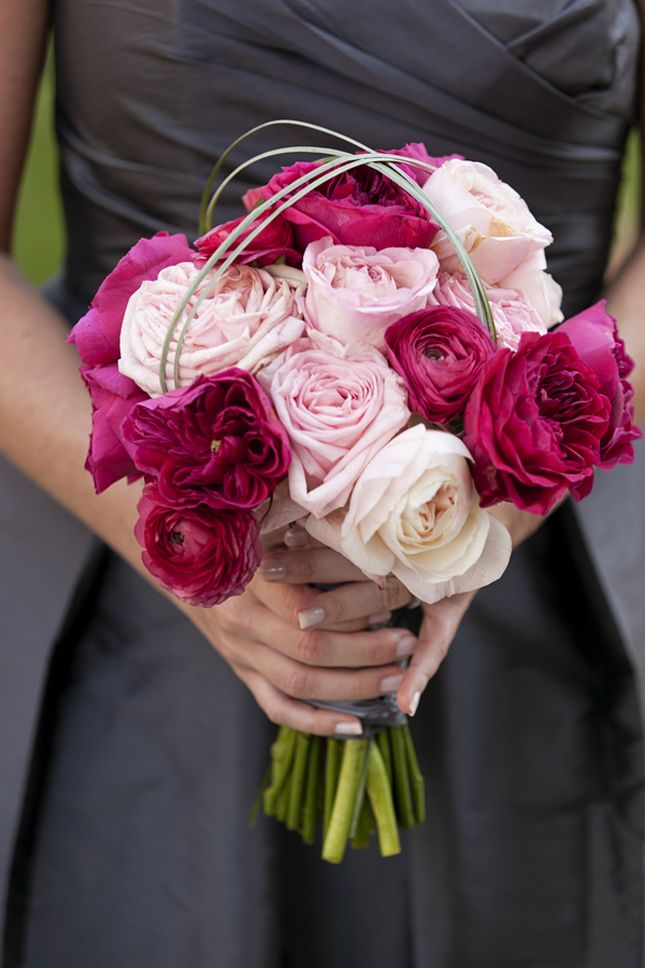 Beautiful bright color bridesmaids bouquet. photo by Lace Hanky Photography