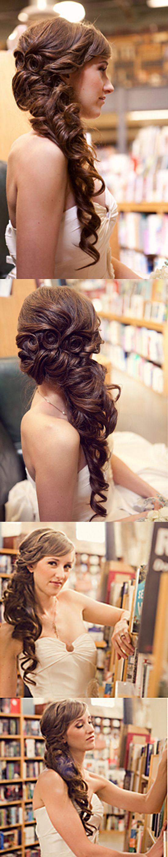 Beautiful rapunzel bridal hair brunette princess belle updo
