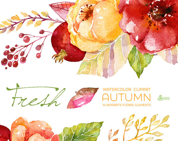 Fresh Autumn Elements Clipart + Bouquet Handpainted watercolor - fresh wedding invitation card create
