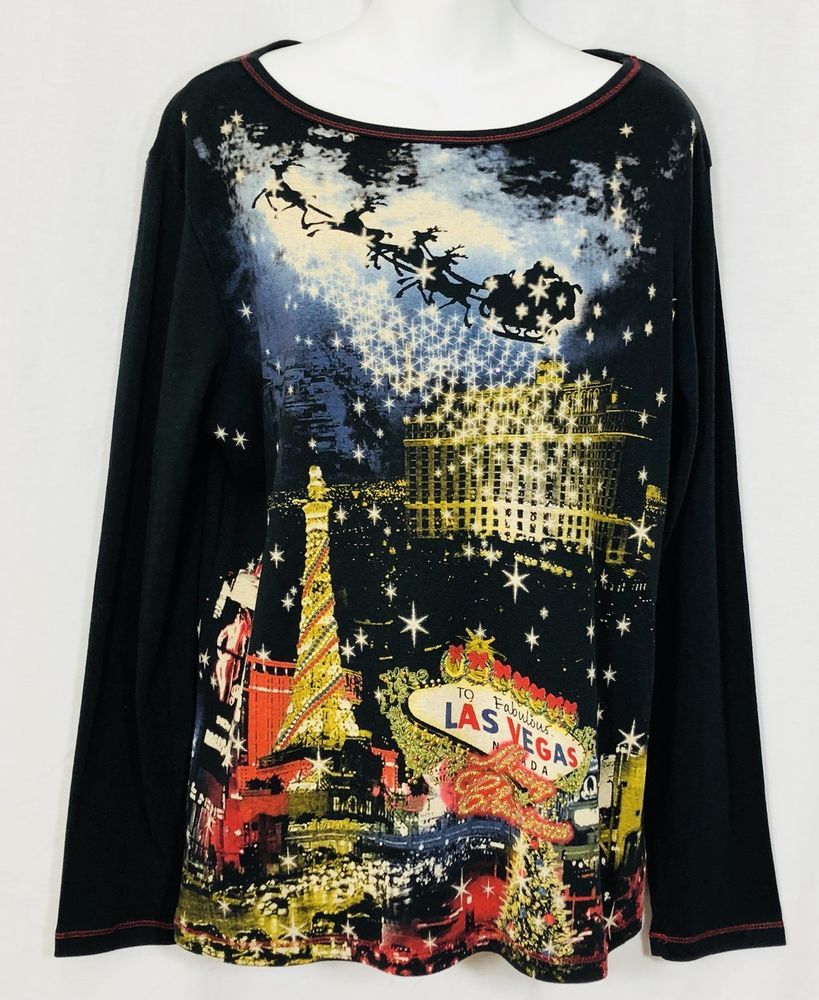 New las vegas christmas top womenus sz xl black red rhinestones long