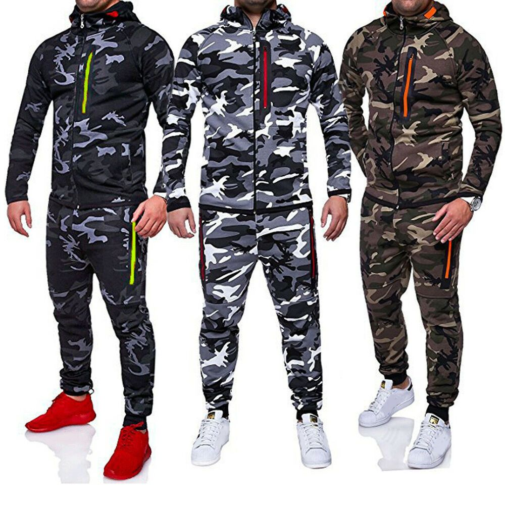Pants Sets Sports Suit Sportswear Mens Camouflag Printed Full Tracksuit Tops